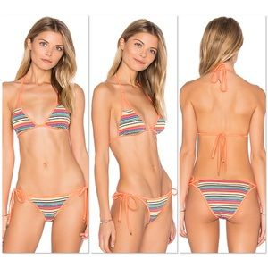 Wildfox Zooey rainbow triangle bikini top/bottom L